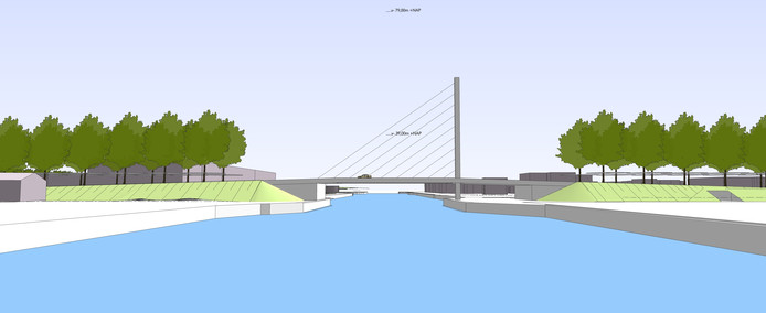 Zo zou ie kunnen worden: een brug met een pyloon. Oftewel een tuibrug. Maar het mag ook anders.