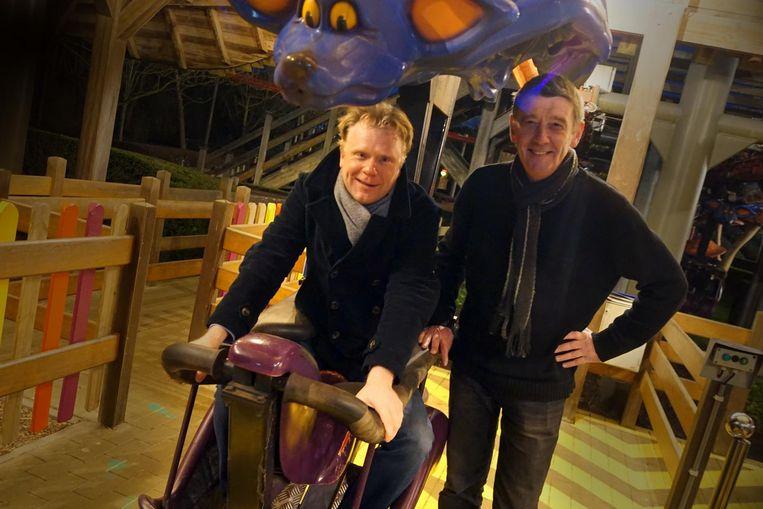 Ceo Steve Van den Kerkhof en parkmanager Wim Wauters maken hun laatste rit op 'De Vleermuis'.