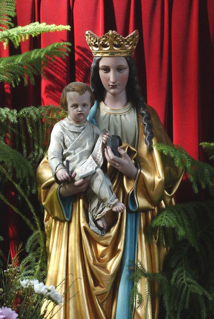Maria met de inktpot in de R.K. kerk in Aardenburg.