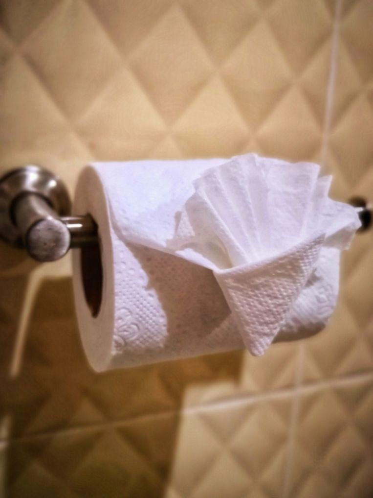 Zelfs het wc-papier in de badkamer werd in een origamiroos gevouwd