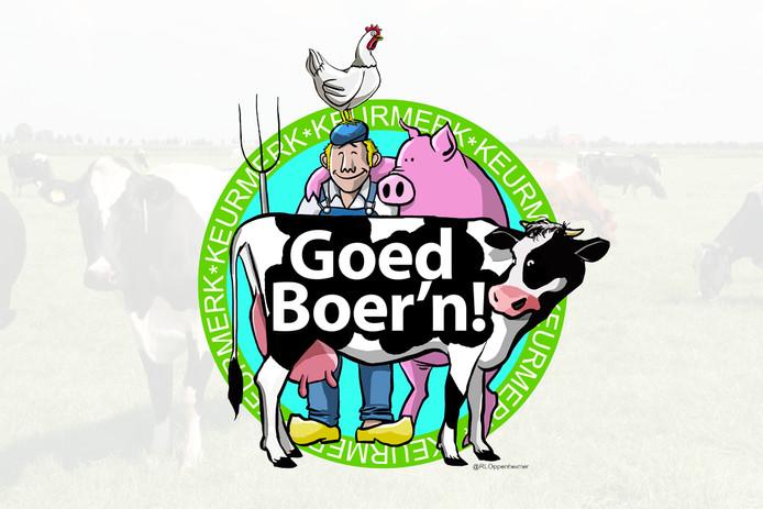 Het niet-bestaande keurmerk Goed Boer'n, gemaakt na een enquête van De Gelderlander over meer betalen voor boerenwelzijn.