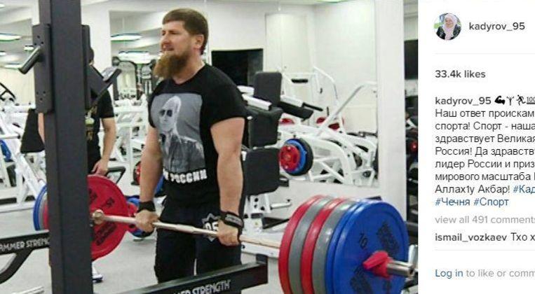Kadyrov op een foto op Instagram. Beeld