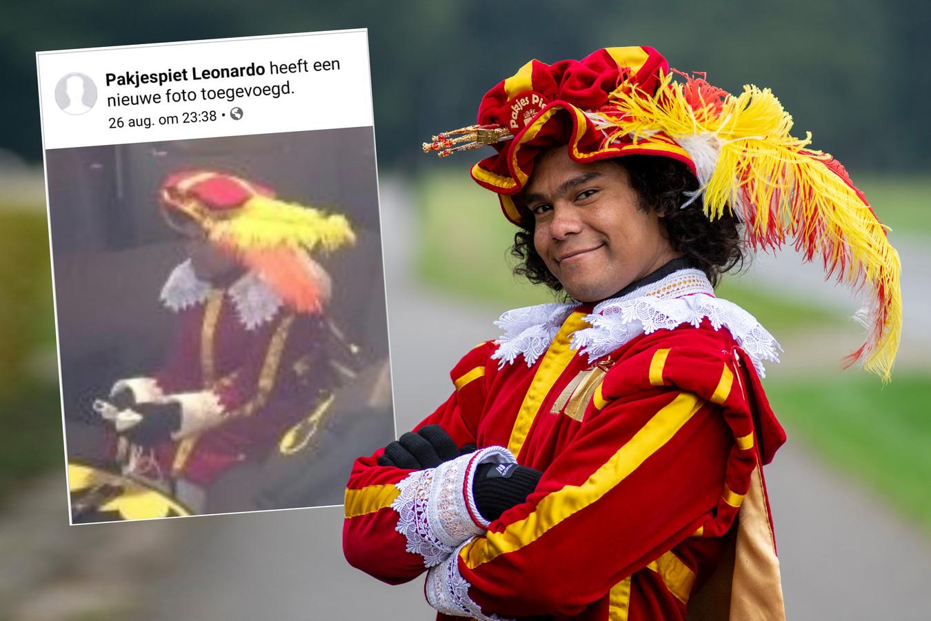 Leonardo speelt rond 5 december voor Zwarte Piet. Zijn foto (zie inzet) werd door Facebook verwijderd.