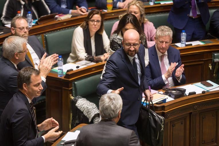 De Belgische premier Charles Michel tijdens de zitting van het parlement dinsdagmiddag.  Beeld BELGA