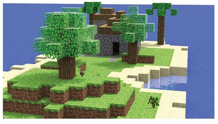 Met Minecraft kun je bouwen.