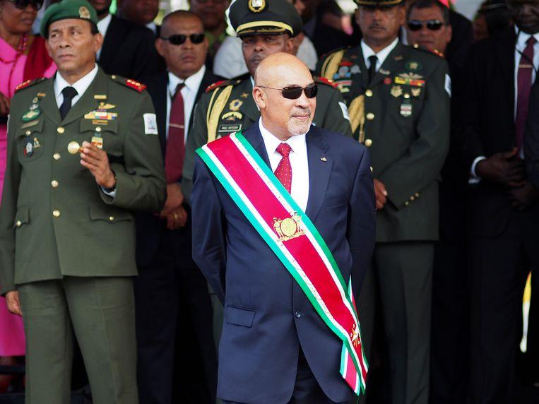 Desi Bouterse tijdens een militaire parade in 2015. Beeld AP