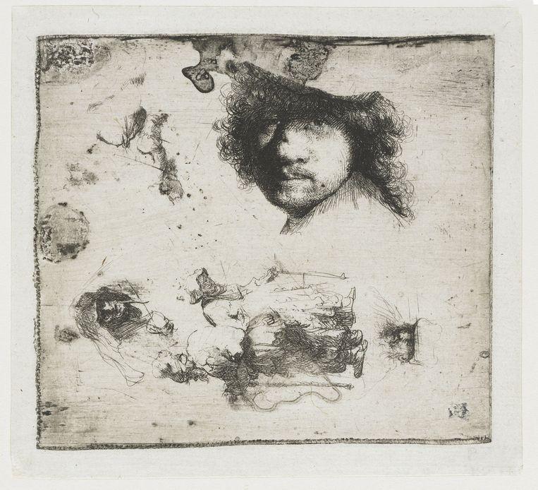 Rembrandt, Studieblad met zelfportret. Ets, 1630-1634, Rijksmuseum. Beeld