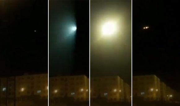 Het moment waarop de raket inslaat op het vliegtuig.
