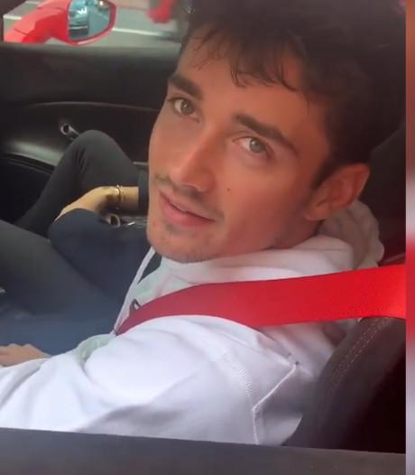Charles Leclerc geeft vanuit zijn Ferrari interview aan Beau (16) uit Apeldoorn