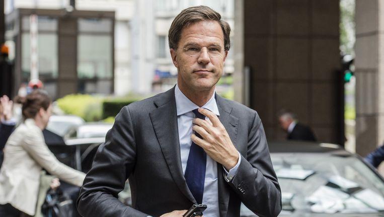 Premier Mark Rutte komt aan voor de bijeenkomst van de Europese Raad in Brussel. Beeld anp