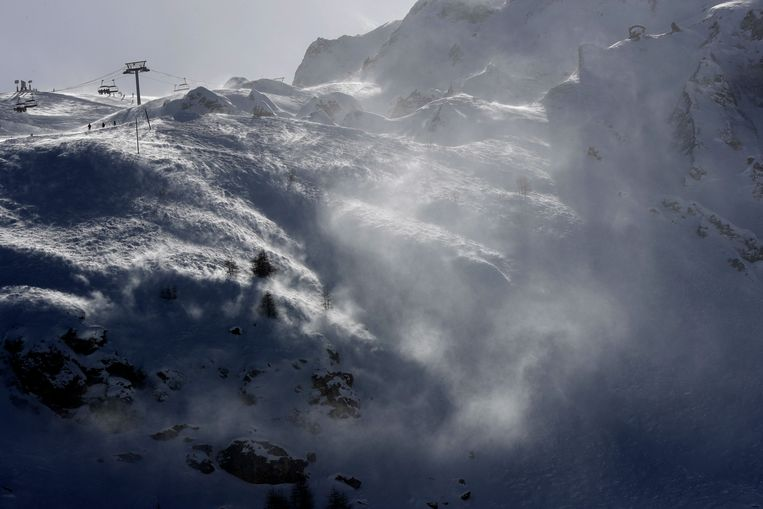Een deel van het skigebied in Tignes. Daar vond gisteren een aardbeving plaats. Valfréjus ligt daar niet ver vandaan. Beeld AP