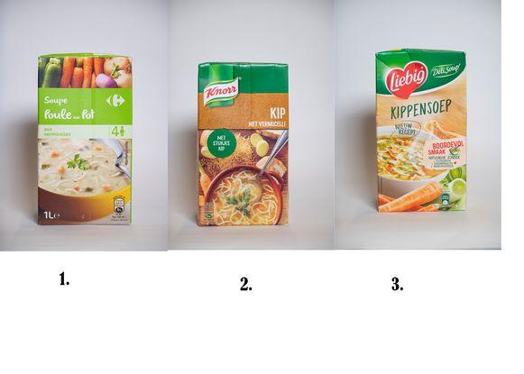 Kippensoep, 1. Carrefour kip, 2. Knorr kip met vermicelli, 3. Liebig Kippensoep.