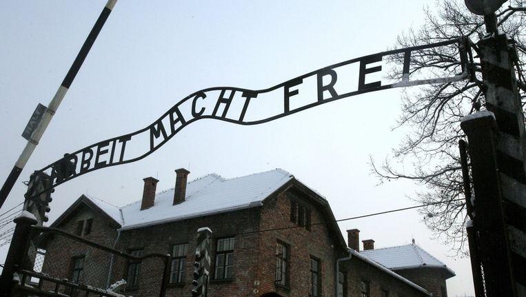 De ingang van het kamp Auschwitz. Beeld epa