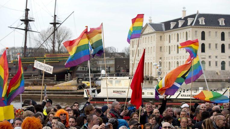 Demonstranten tegen de Russische antihomowet eerder dit jaar bij het Scheepvaartmuseum in Amsterdam. Beeld anp