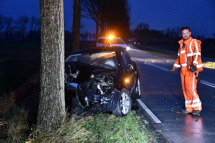 De auto reed tegen een boom direct langs de weg.