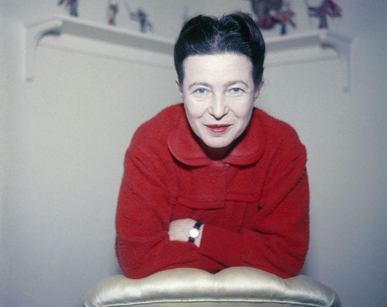 Simone de Beauvoir (1908-1986), French writer. Paris, 1957. Beeld Hollandse Hoogte / Roger Viollet Agence Photographique