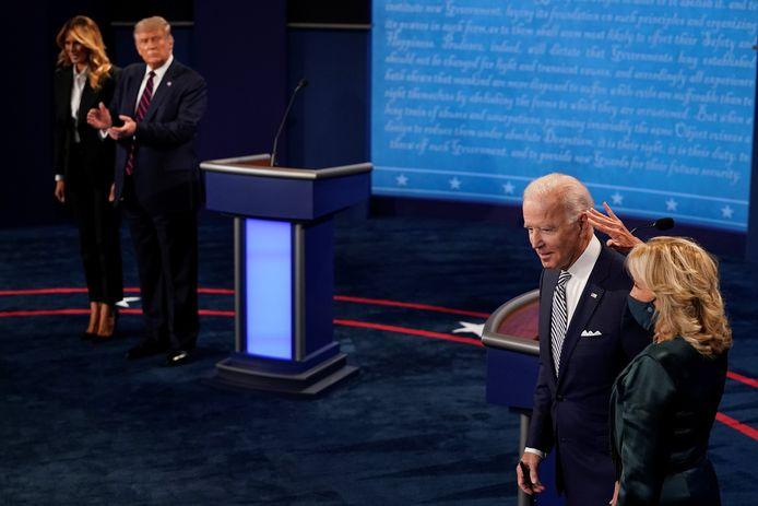 Joe Biden en Donald Trump woensdag op het eerste debat tussen hen beiden.