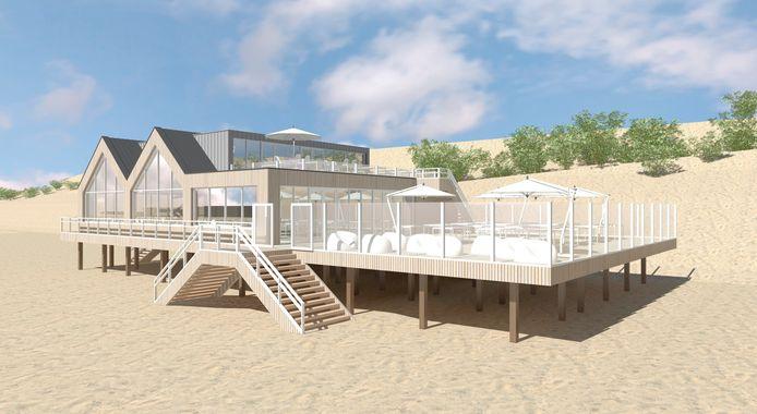 Impressie van het nieuwe strandpaviljoen Breezand