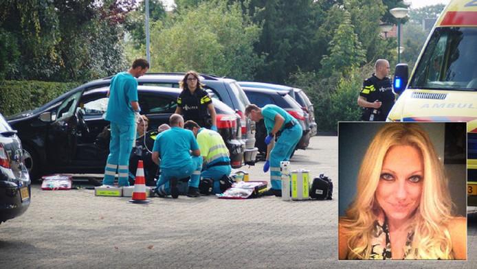 Politie en ambulancemedewerkers op de plaats waar Linda van der Giesen werd neergeschoten.