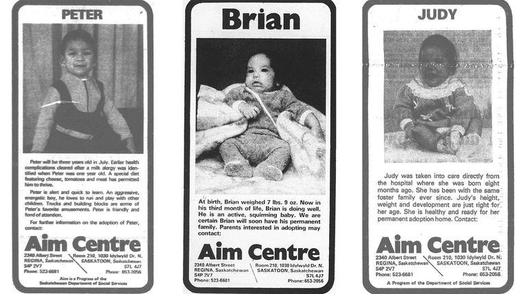 Advertenties uit het speciale adoptieprogramma voor inheemse kinderen. De kinderen in deze advertenties komen niet voor in de podcast. Beeld CBC