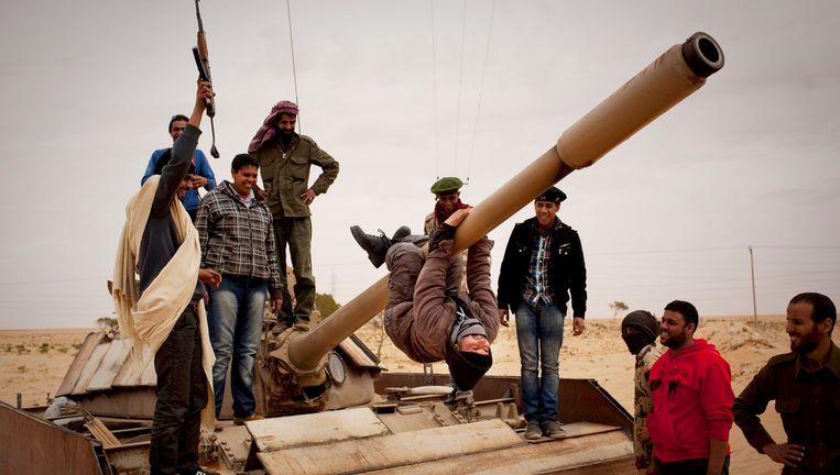 Opstandelingen in Sultan, ten zuiden van Benghazi. Beeld ap