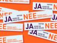 Speciale sticker tegen anti-abortusfolder