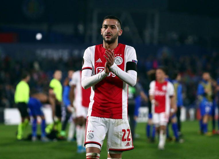 Hakim Ziyech was afgelopen seizoen een van de grootverdieners bij Ajax. Hij is vertrokken naar Chelsea.  Beeld REUTERS