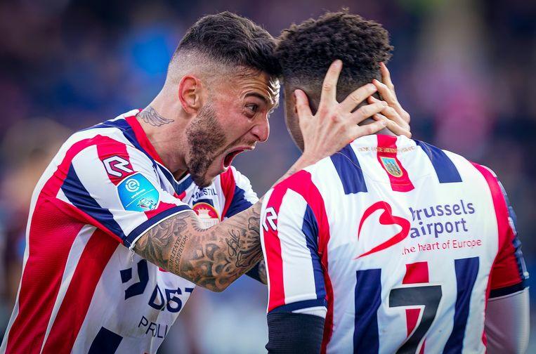Che Nunnely van Willem II viert zijn 2-0 tegen PSV.  Beeld BSR Agency
