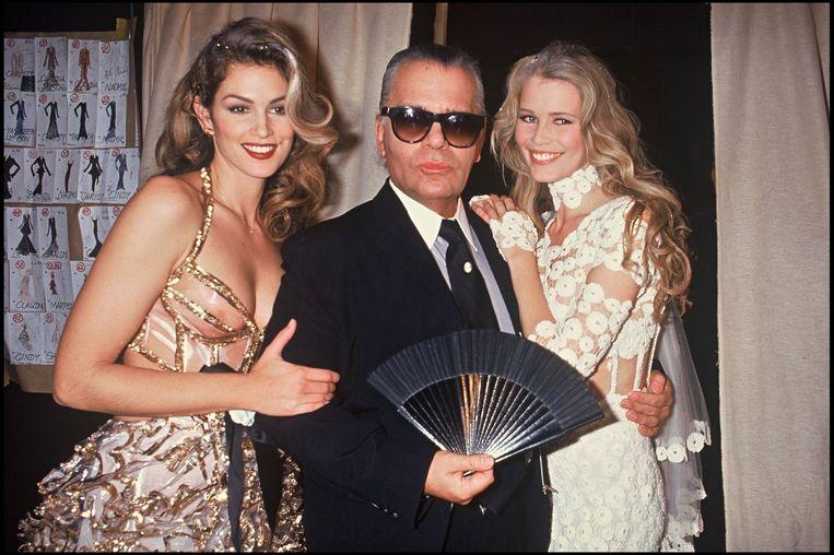 Cindy Crawford, Karl Lagerfeld en Claudia Schiffer in 1993.