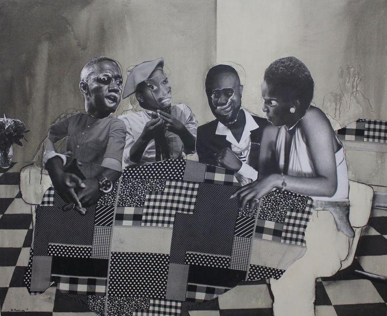 Neo Matloga, 'Nka nako go motseba', collage, houtskool en inkt op canvas. Beeld Sije Kingma, Fries Museum