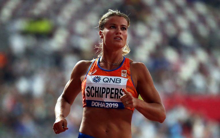 Dafne Schippers kwam in de halve finales nog goed uit het startblok. Later gaf ze op. Beeld EPA
