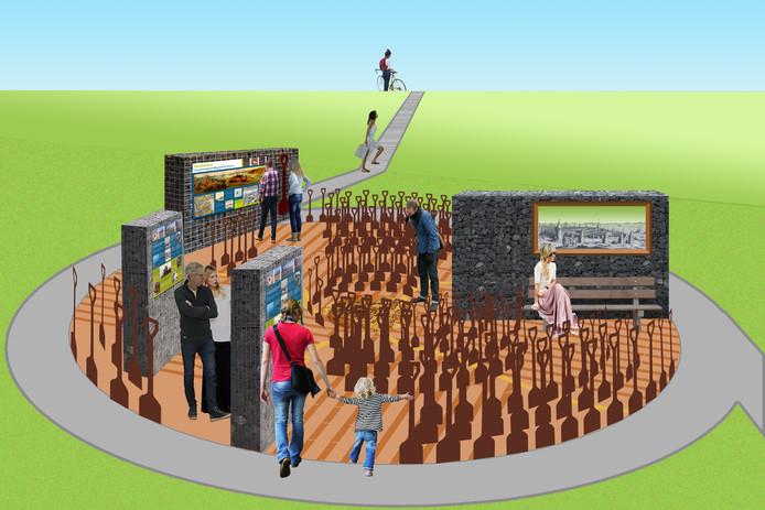 Het concept-ontwerp van het entreepunt over verdronken dorpen bij de Bergsediepsluis.