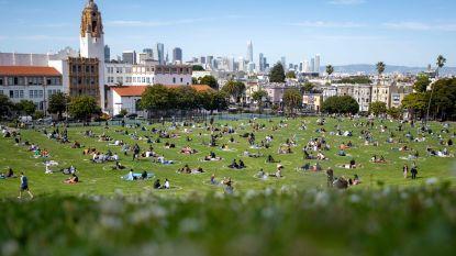 Naar het park in San Francisco: mensen moeten in 'social distancing'-cirkels blijven