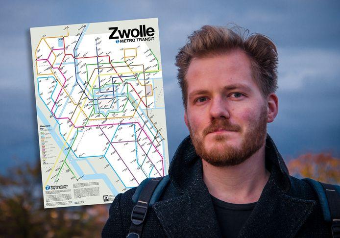 Victor van Werkhooven (29) maakte een fictieve metrokaart van Zwolle, in het Engels.