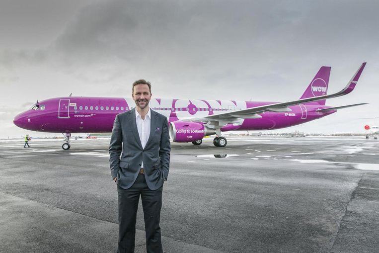 Oprichter Skúli Mogensen van het IJslandse Wow Air, dat nu al vanaf 150 euro vluchten van Schiphol naar de VS biedt, met tussenstop Beeld Wow
