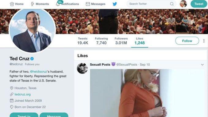 Senator Ted Cruz 'liket' per ongeluk porno op Twitter