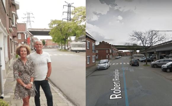 Links: de straat van Kaat en Gil in 'Huizenjagers' op VIER. Rechts: de werkelijke situatie op Google Street View, zonder hoogspanningsmasten.