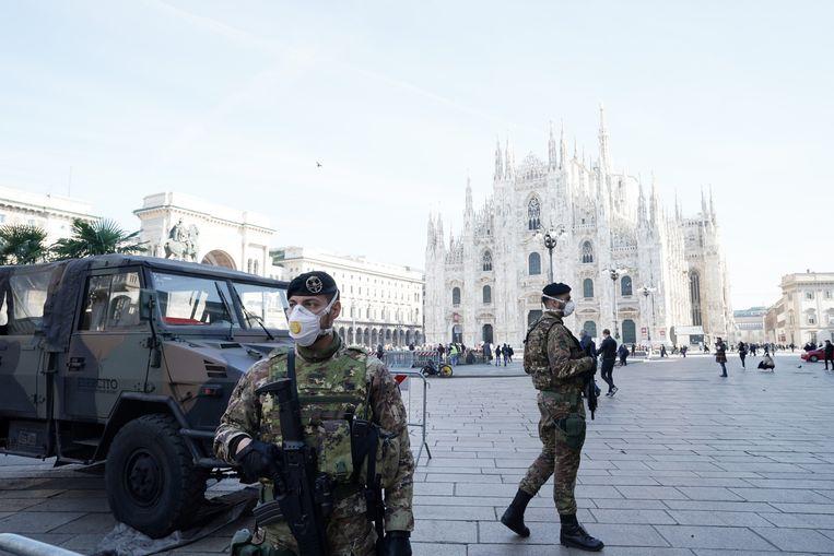 Virusmaatregelen in Milaan. Beeld Getty Images