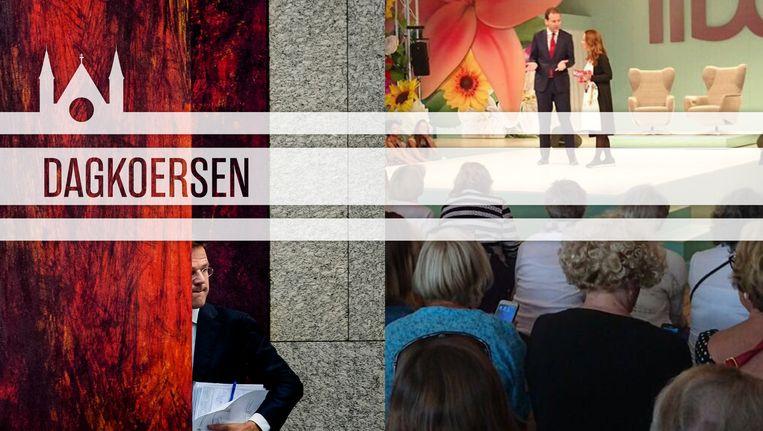 Links: premier Rutte verschijnt in de Kamer voor het jaarlijkse verantwoordingsdebat. Rechts: vicepremier Asscher in gesprek met columniste Umar tijdens de Libelle Zomerweek (foto: twitter.com/lodewijka). Beeld ANP/Twitter