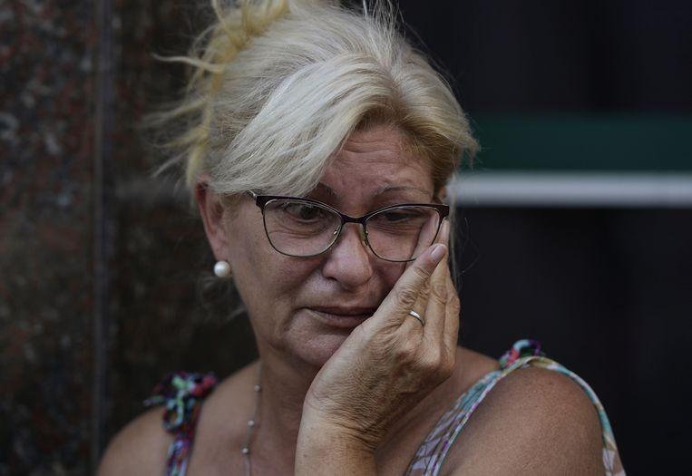 Mirta Taffarel, de tante van Emiliano Sala, tijdens de uitvaart vandaag.