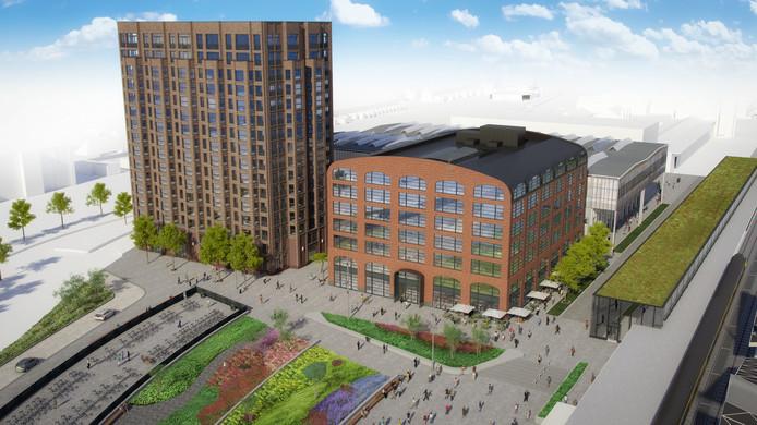 Impressie van de oostkant van het Burgemeester Stekelenburgplein met woongebouw (Links) en werkgebouw Plan-T. Parallel aan het spoor de nieuwe fietsenstalling.