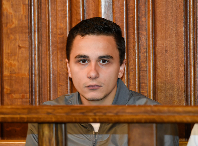Accused Alexandre Hart pictured during the assizes trial of five men accused for the murder on Valentin Vermeersch before the Assizes Court of Liege, Tuesday 21 May 2019, in Liege. 18-year-old Vermeersch was thrown in the Meuse river and died by drowning after being tortured in the night of 26 and 27 March 2017 in Wanze. BELGA PHOTO JOHN THYS
