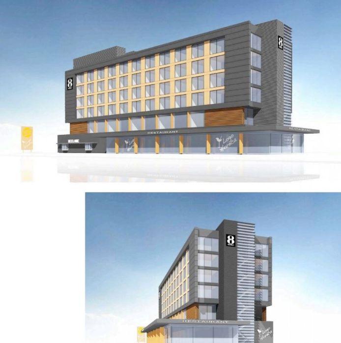 Artist impression van de voor- en zijkant van het nieuwe GR8-hotel in Breda.