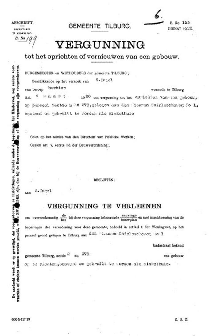 De vergunning voor de bouw van het pand.