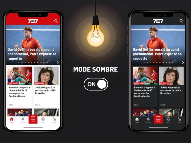 Activez dès maintenant le mode sombre sur l'app 7sur7