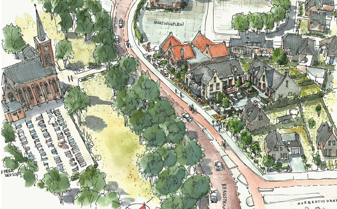 Links de kerk, rechts het nieuwe plan.