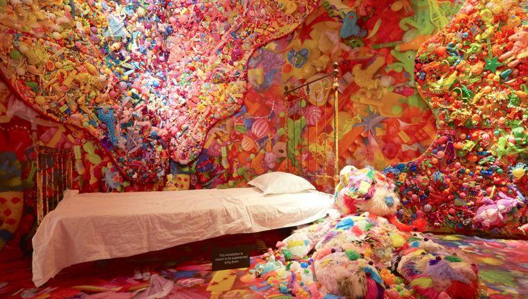 De installatie 'Colorful Rebellion - Seventh Nightmare' van kunstenaar Sebastian Masuda is te zien tijdens de opening van Cool Japan in het Tropenmuseum. Beeld Shutterstock