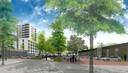 Een impressie van het plan Hartje Barrier in Achtse Barrier Eindhoven met zicht op het parkeerterrein met links de nieuwe woontoren.