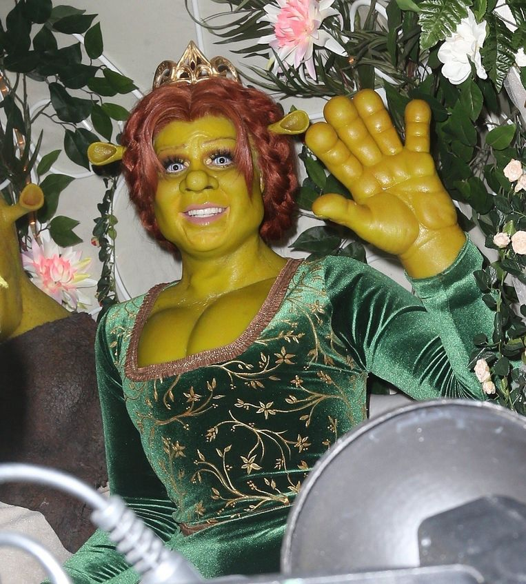 Heidi Klum en haar vriend Tom Kaulitz als Fiona en Shrek.