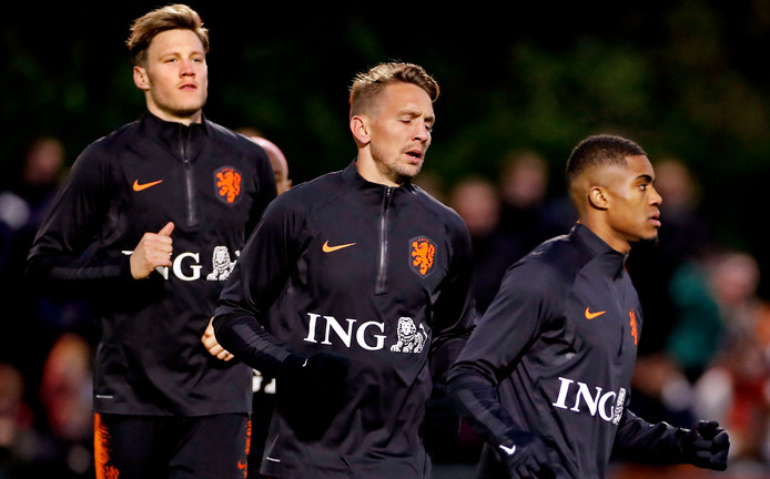 Vlnr: Wout Weghorst, Luuk de Jong en Myron Boadu.